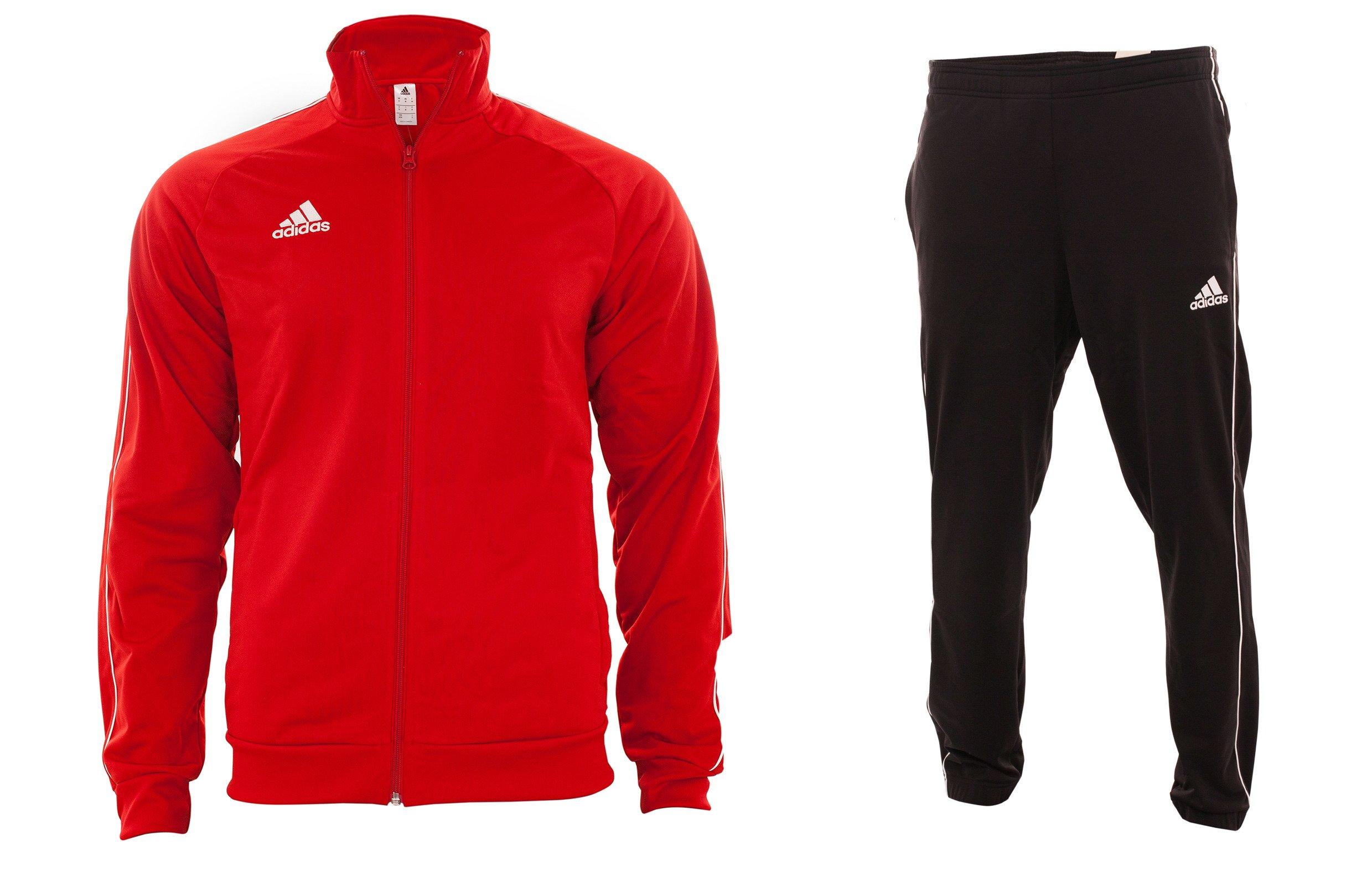 f59613025 Męskie czarne spodnie dresowe adidas wraz z czerwoną rozsuwaną bluzą ...