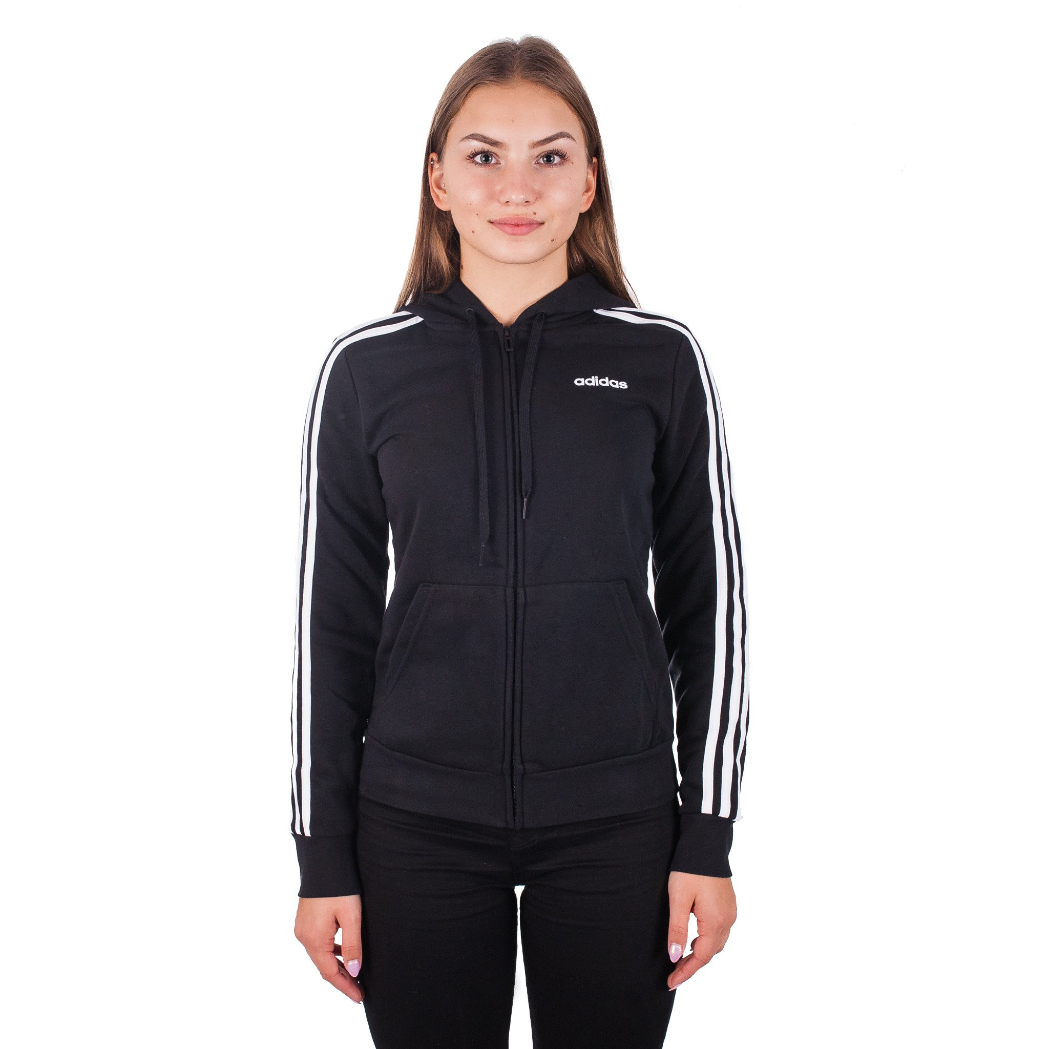 Bluza damska adidas W Essentials 3Stripes FZ HD czarna